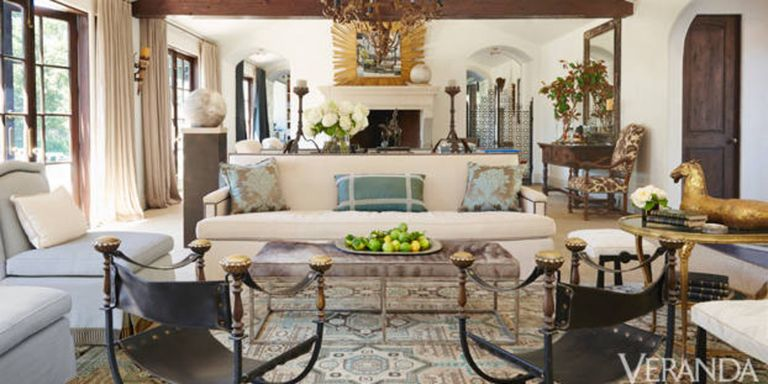 Rustic and refined los angeles ranch windsor smith - Ranch house living room decorating ideas ...